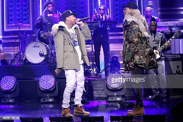 Musical guests Tyga and Chris Brown perform with The Roots on February 16 2015