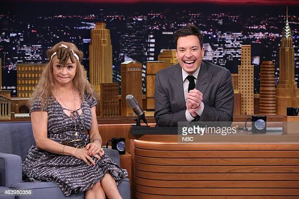 Actress Amy Sedaris during an interview with host Jimmy Fallon on February 20 2015