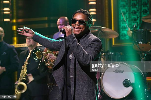 Musical guest Lupe Fiasco performs with The Roots on February 25 2015