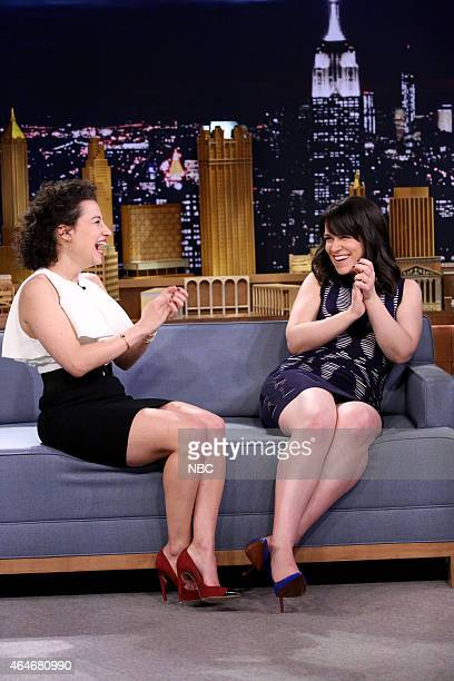 Actresses Ilana Glazer and Abbi Jacobson during an interview with host Jimmy Fallon on February 27 2015