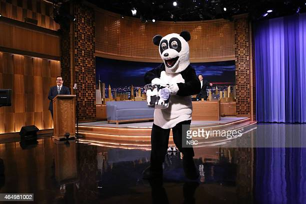 Announcer Steve Higgins Hashtag the Panda and host Jimmy Fallon on March 2 2015