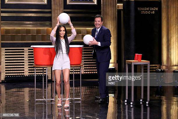 Actress Zoe Kravitz plays Giant Beer Pong with host Jimmy Fallon on March 4 2015