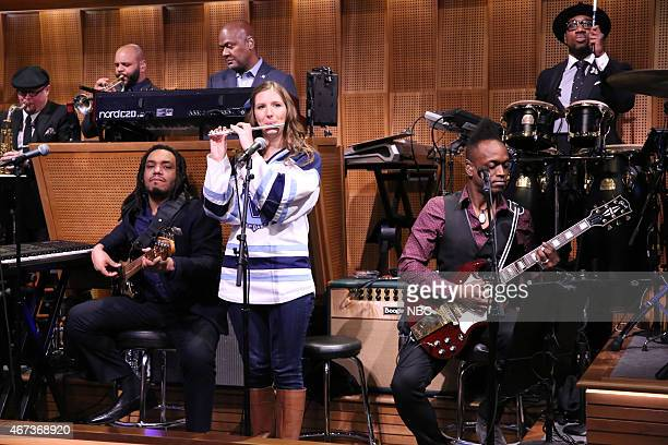 Villanova Pep Band piccolo player Roxanne Chalifoux performs with The Roots on March 23 2015