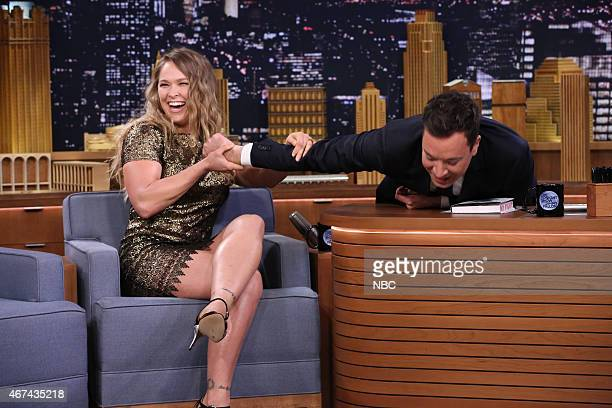 Mixed martial artist Ronda Rousey during an interview with host Jimmy Fallon on March 24 2015