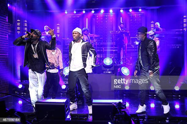 Young Buck 50 Cent and Tony Yayo of musical guest GUnit perform with The Roots on March 25 2015
