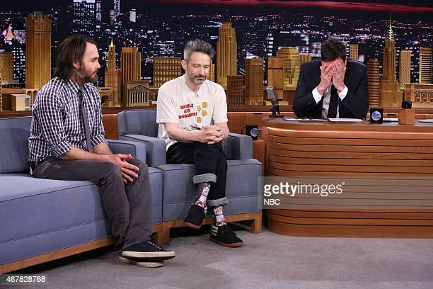 Actor Will Forte and musician Adam Horovitz during an interview with host Jimmy Fallon on March 27 2015