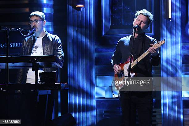 Gus UngerHamilton and Joe Newman of musical guest altJ perform on March 31 2015
