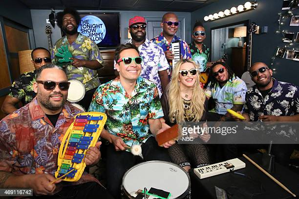 Host Jimmy Fallon Madonna and The Roots during the Music Room segment on April 9 2015