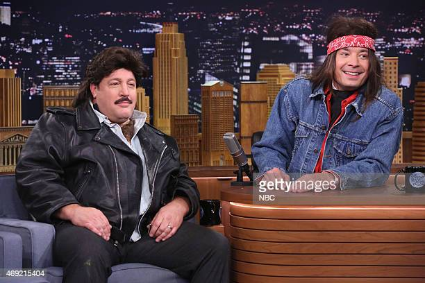 Actor Kevin James and host Jimmy Fallon during the 'Last Call Saloon' skit on April 10 2015