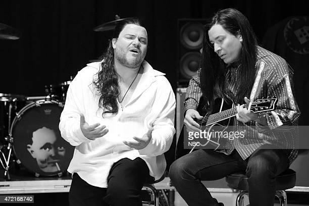 Musician Jack Black and host Jimmy Fallon during the More Than Words music video skit on May 4 2015