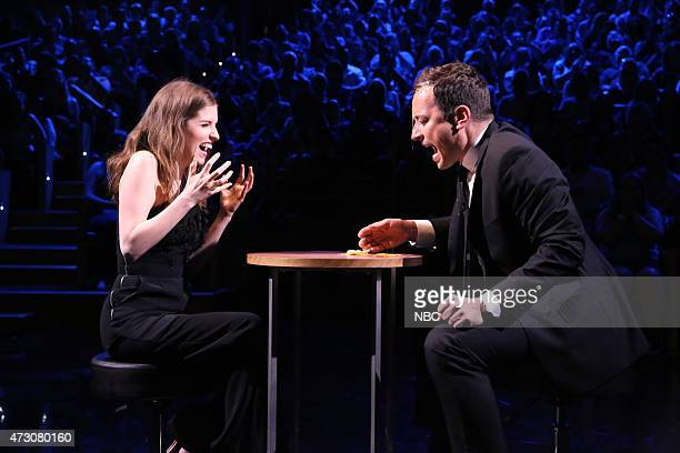 Actress Anna Kendrick and host Jimmy Fallon play Egg Russian Roulette on May 12 2015
