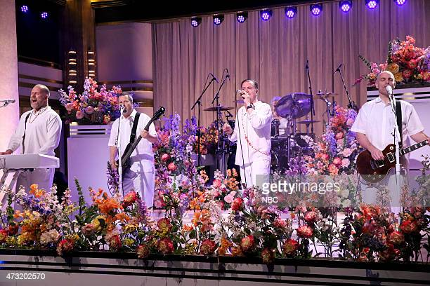 Episode 0262 -- Pictured: Roddy Bottum, Billy Gould, Mike Bordin, Mike Patton and Jon Hudson of musical guest Faith No More perform on May 13, 2015 --