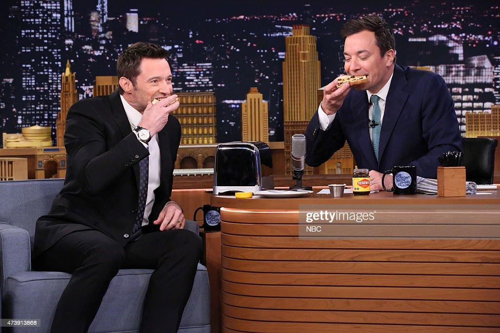 Actor Hugh Jackman during an interview with host Jimmy Fallon on May 18, 2015 --
