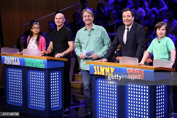 Angela rapper Pitbull comedian Jeff Foxworthy host Jimmy Fallon and Tres during the 'Are You Smarter Than a 5th Grader' game on May 20 2015