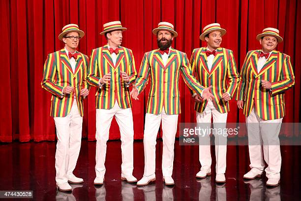 Anthony David Miles Tom Shillue Sting Jimmy Fallon and Chris Tartaro perform as The Ragtime Gals on May 22 2015