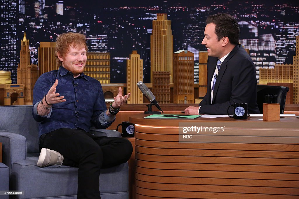 Musician Ed Sheeran during an interview with host Jimmy Fallon on June 1, 2015 --