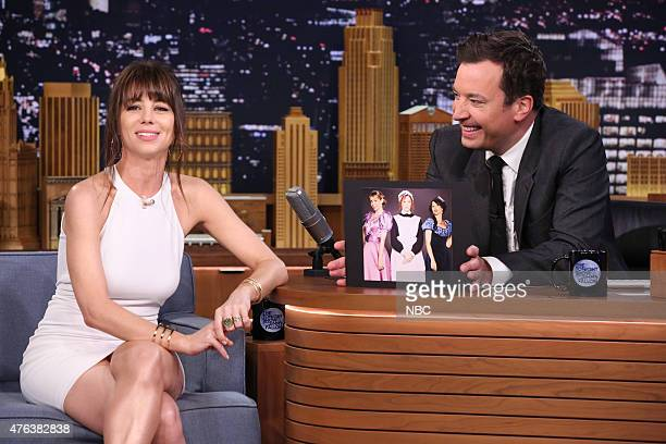 Comedian Natasha Leggero during an interview with host Jimmy Fallon on June 8 2015