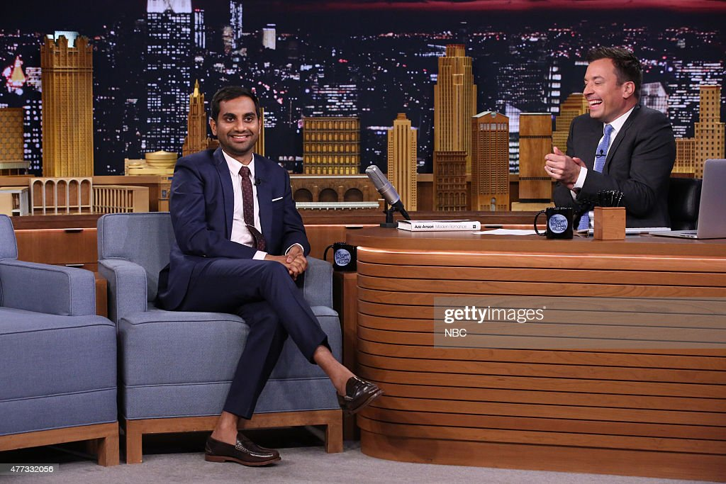 Actor Aziz Ansari during an interview with host Jimmy Fallon on June 15, 2015 --