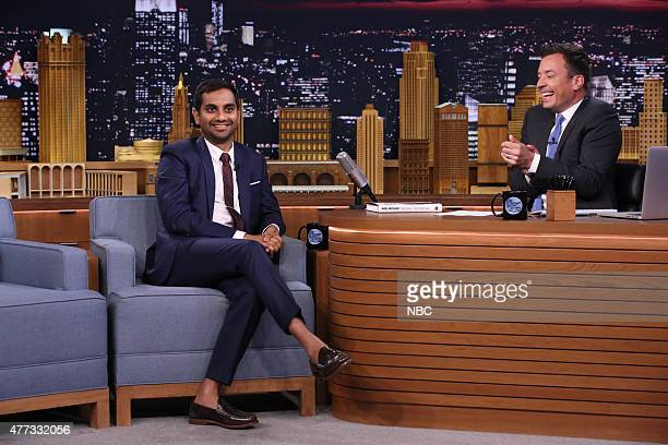 Actor Aziz Ansari during an interview with host Jimmy Fallon on June 15 2015