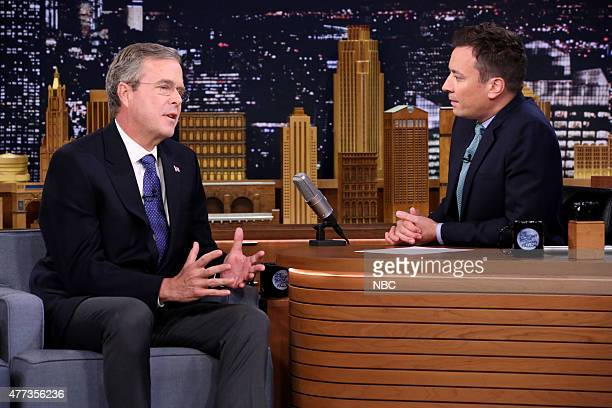 Former Governor Jeb Bush during an interview with host Jimmy Fallon on June 16 2015