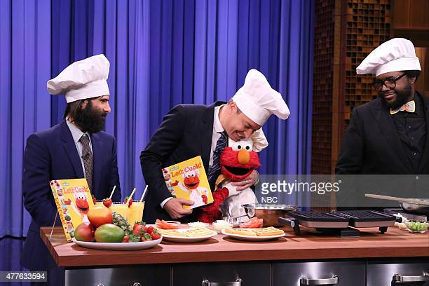 Actor Jason Schwartzman host Jimmy Fallon Elmo and Ahmir 'Questlove' Thompson during a cooking demonstration on June 18 2015