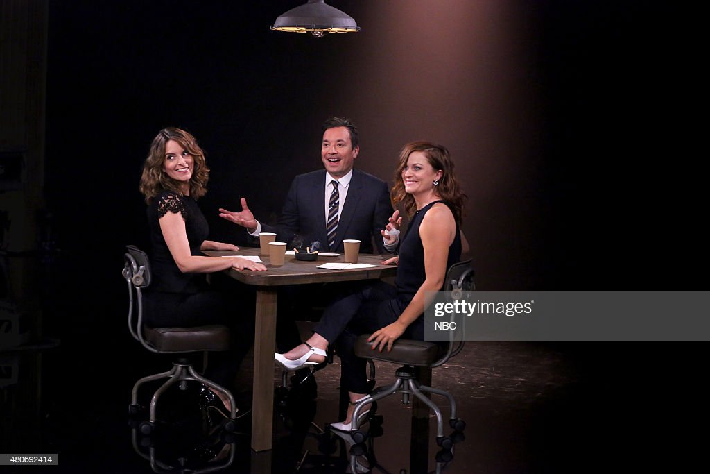 Actress Tina Fey, host Jimmy Fallon and actress Amy Poehler play 'True Confessions' on July 14, 2015 --
