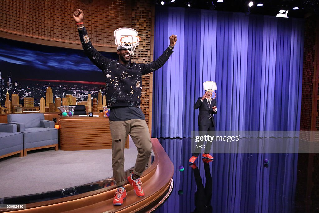 Professional basketball player LeBron James plays 'Faceketball' with host Jimmy Fallon on July 14, 2015 --