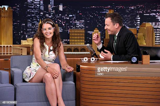 Actress Katie Holmes and host Jimmy Fallon during the 'Say Anything' skit on July 23 2015