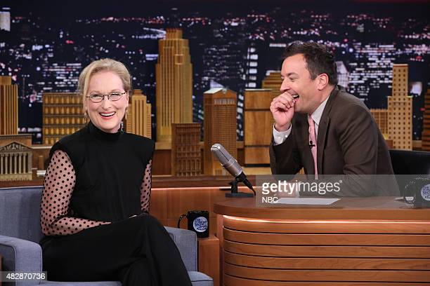 Actress Meryl Streep during an interview with host Jimmy Fallon on August 3 2015