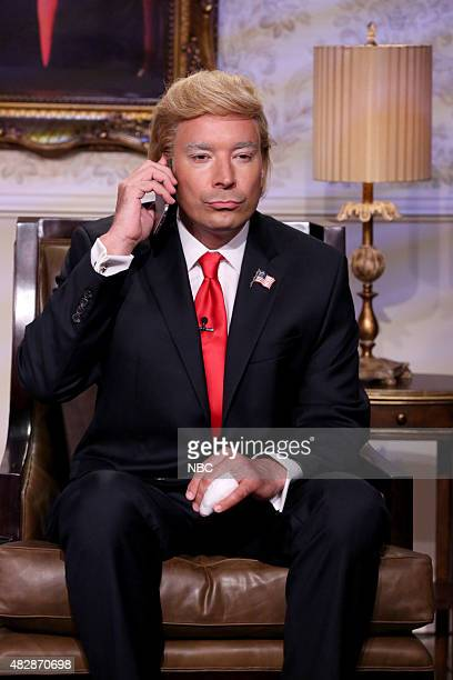 Host Jimmy Fallon as Donald Trump during the 'TrumpObama Phone Call' skit on August 3 2015