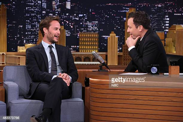 Actor Taylor Kitsch during an interview with host Jimmy Fallon on August 7 2015