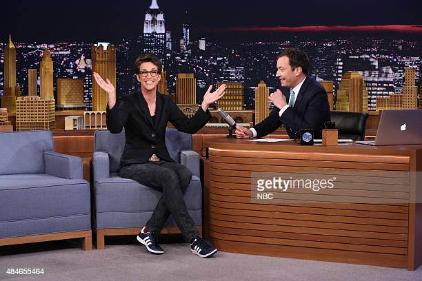 Television host Rachel Maddow during an interview with host Jimmy Fallon on August 20 2015