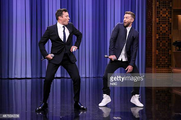 Host Jimmy Fallon and singer Justin Timberlake perform History of Rap 6 on September 9 2015