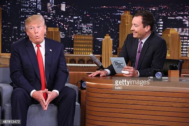 Episode 0327 -- Pictured: Donald Trump during an interview with host Jimmy Fallon on September 11, 2015 --