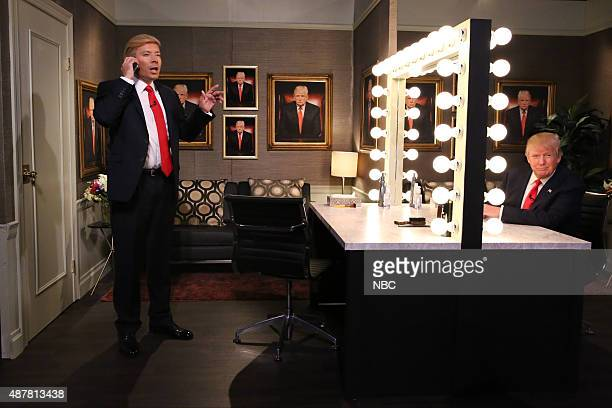 """Episode 0327 -- Pictured: Host Jimmy Fallon and Donald Trump during the """"Trump in the Mirror"""" skit on September 11, 2015 --"""