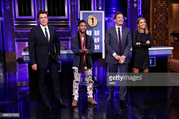 Actor Benicio del Toro musician Miguel host Jimmy Fallon and actress Jessica Alba play Long Story Short on September 14 2015