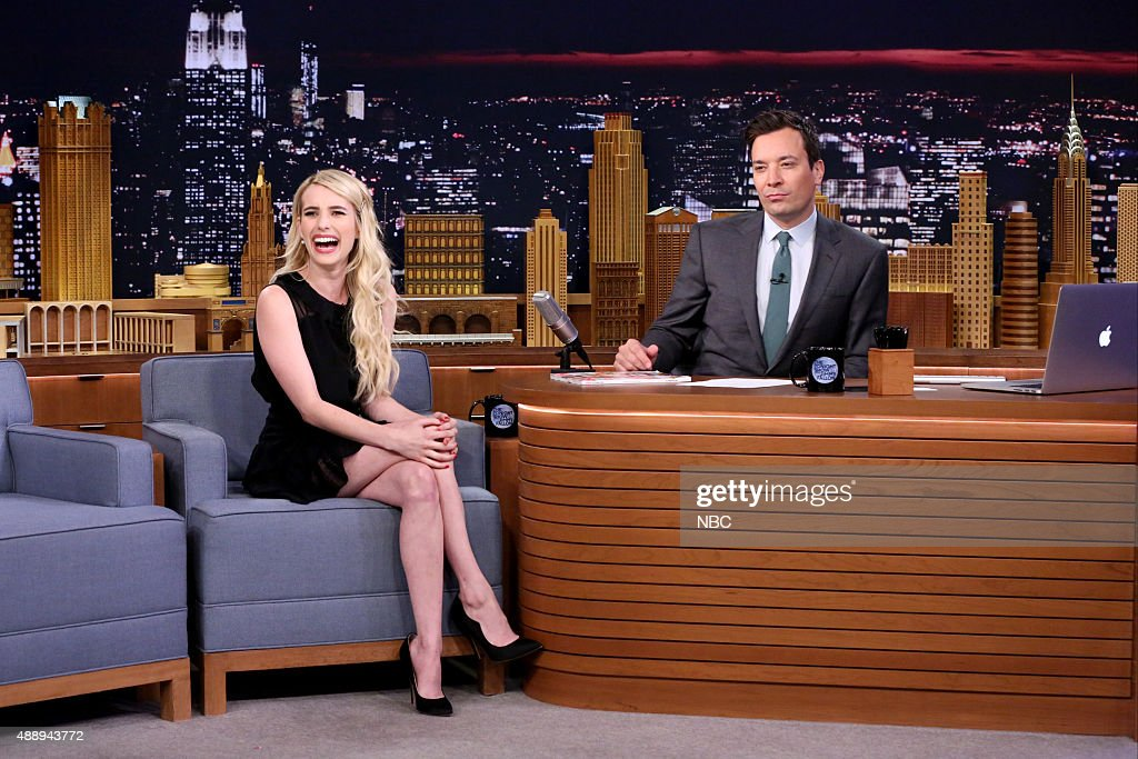 Actress Emma Roberts during an interview with host Jimmy Fallon on September 18, 2015 --