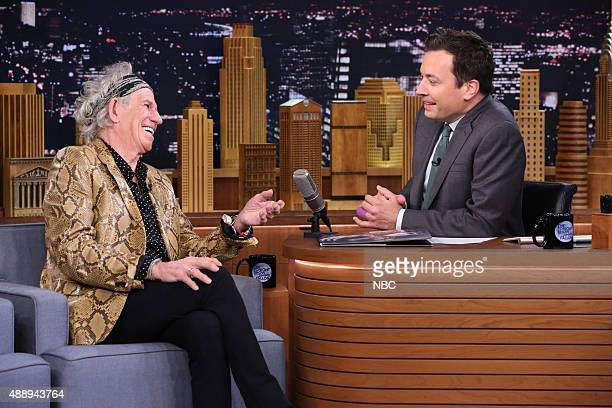 Musician Keith Richards during an interview with host Jimmy Fallon on September 18 2015