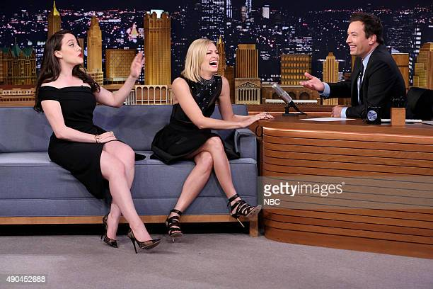 Actress Kat Dennings and actress Beth Behrs during an interview with host Jimmy Fallon on September 28 2015