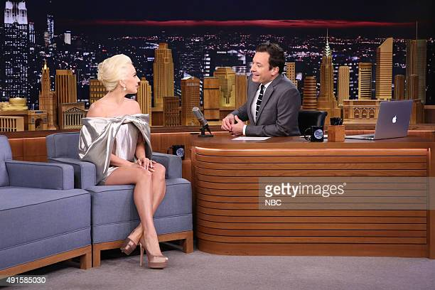 Singer Lady Gaga during an interview with host Jimmy Fallon on October 6 2015