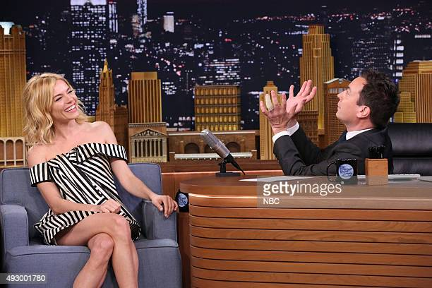 Actress Sienna Miller during an interview with host Jimmy Fallon on October 16 2015