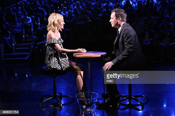 Actress Sienna Miller plays Egg Russian Roulette with host Jimmy Fallon on October 16 2015