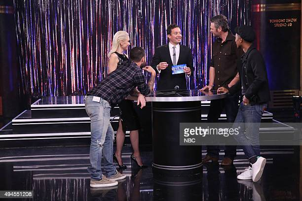 Singer Adam Levine singer Gwen Stefani host Jimmy Fallon singer Blake Shelton and singer Pharrell Williams play Spin the Microphone with The Voice...