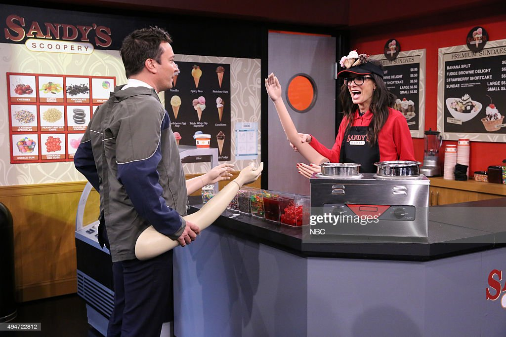 Host Jimmy Fallon and actress Sandra Bullock during the 'Fake Arms' sketch on October 28, 2015 --