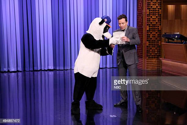 Hashtag the Panda and host Jimmy Fallon during the monologue on October 29 2015