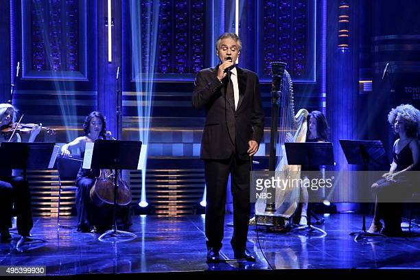 Episode 0358 -- Pictured: Musical guest Andrea Bocelli performs on November 2, 2015 --