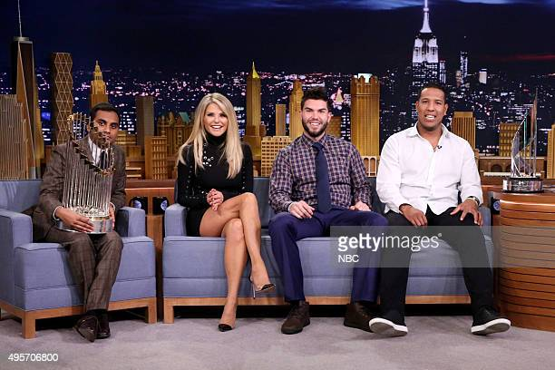 Actor Aziz Ansari model Christie Brinkley baseball player Eric Hosmer and baseball player Salvador Pérez during an interview with host Jimmy Fallon...