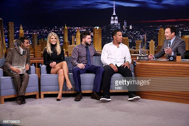 Actor Aziz Ansari model Christie Brinkley baseball player Eric Hosmer and baseball player Salvador Pérez during an interview with host Jimmy Fallon...