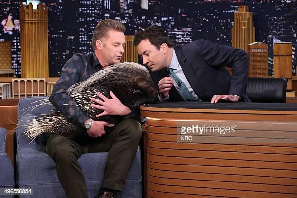 Naturalist Chris Packham shows host Jimmy Fallon an African Crested Porcupine on November 10 2015
