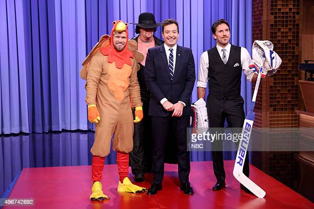 Brad Maddox The Undertaker host Jimmy Fallon and ice hockey player Henrik Lundqvist on November 11 2015